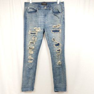 PacSun Stacked Skinny Distressed Patched Jeans 32